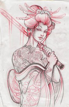 Geisha Tattoo Design..