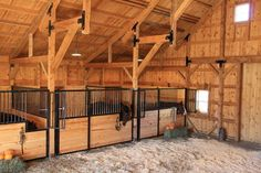 Wood Post & Beam Horse Barn in Nebraska - farmhouse - Garage And Shed - Other Metro - Sand Creek Post & Beam Horse Shed, Horse Arena, Horse Barn Plans, Barn Stalls, Horse Stalls, Dream Stables, Dream Barn, Gambrel Barn, Horse Barn Designs