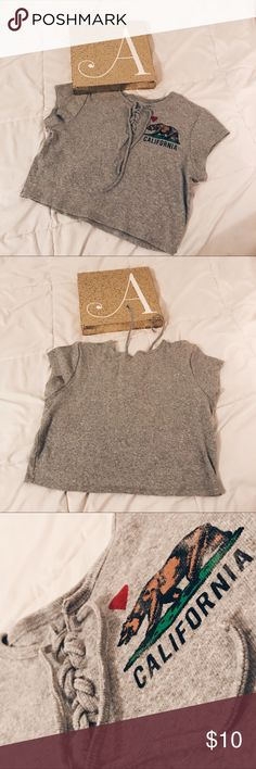 Cali Crop Top Grey Ribbed Crop top Lace up Cali love Rue 21 Tops Crop Tops