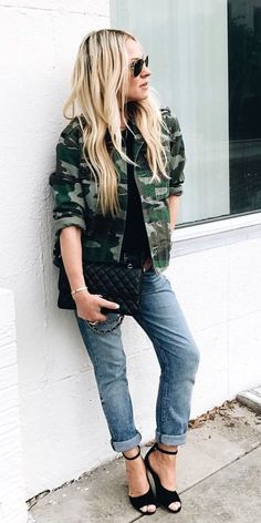 #winter #outfits gray and green camouflage print button-up jacket