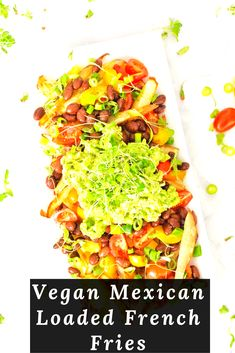 What could be better than a cross between french fries and nachos? A recipe that is healthy and vegan at that! Celebrate Cinco de Mayo with an indulgent meal that actually turns out to be healthy. If you want to kick things up a notch, I would definitely recommend adding in some jalapeños or hot sauce. #vegan #maxican #loaded #french #frenchfries #recipes #fries #food #healthyrecipes #healthyfood #healthyeating Loaded French Fries Recipe, Eat Healthy, Healthy Recipes, Sliced Potatoes, Nachos, Cherry Tomatoes, Hot Sauce, Nutrition, Stuffed Peppers