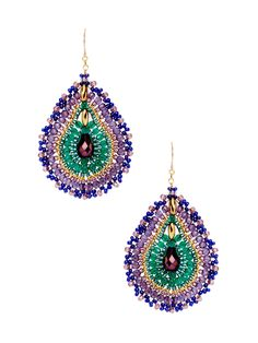 Green Quartz & Miyuki Drop Earrings by Miguel Ases at Gilt