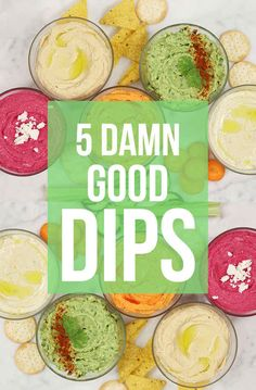 5 Insanely Easy Dip Recipes: Smoky Sriacha, Coriander & Lime Gaucamole, Chargrilled Eggplant & Yogurt, Feta & Beetroot Dip, and Classsic Chickpea Hummus Gourmet Recipes, Vegetarian Recipes, Cooking Recipes, Healthy Recipes, Easy Recipes, Recipes For Dips, Chickpea Dip Recipe, Chickpea Hummus, Avocado Hummus