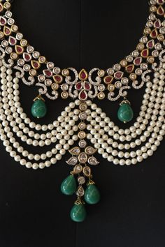 """theleela: """"A Pearl and Kundan Nizaam necklace available at Amalya, the lifestyle boutique at The Leela Palace New Dehli. """""""