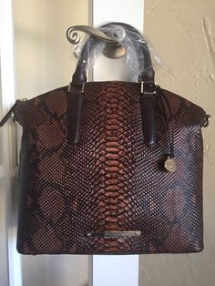 Brahmin Large Duxbury Satchel Tortoise Seville K49718 Brown Embossed Leather | eBay