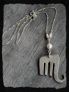 Fork Elephant Necklace with Pearls www.laughingfrogstudio.etsy.com $24.00