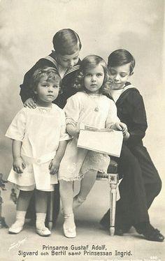 From left: Their Royal Highnesses Prince Bertil Prince Sigvard Princess Ingrid and Prince Gustav Adolf of Sweden Princess Louise, Princess Margaret, Princess Mary, Prince And Princess, Prince Héritier, Young Prince, Prince Arthur, Gustav Adolf, Kingdom Of Sweden