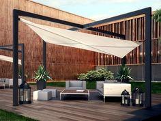 White Pergola with Canopy . White Pergola with Canopy . Beautiful White Pergola with Columns and Watertight Deck Canopy, Backyard Canopy, Garden Canopy, Canopy Outdoor, Outdoor Rooms, Outdoor Areas, Canopy Bedroom, Window Canopy, Outdoor Sofa