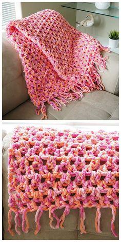Super Easy & Quick Crochet Blanket: free pattern ~ purr-fect for beginners! #CrochetBlanketsEasy