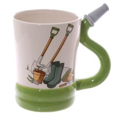Coffee Cup Fun Garden Hose Shaped Handle Ceramic by getgiftideas