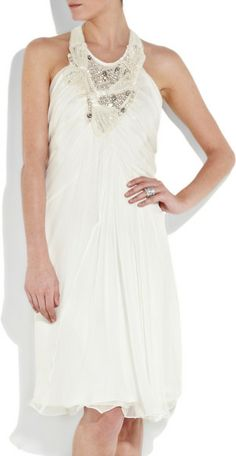 Alberta Ferretti Embellished Silkchiffon Dress in White -