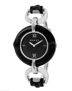Gucci Women's SS Black Case and Dial...Own it: www.teelieturner.com  The polished, stainless steel bangle-like bracelet with calming black dial makes for a stunning watch that will dress up any ensemble. #Gucci