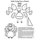 Cut and glue turkey, as well as coloring pages and other games for Thanksgiving fun at Crayola