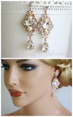 Rose Gold  Bridal earrings Wedding Jewelry Pearl Crystal Vintage Earrings Rhinestone Wedding LEILA DELUXE on Etsy, $65.00