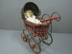 Vintage Doll Buggy & Doll