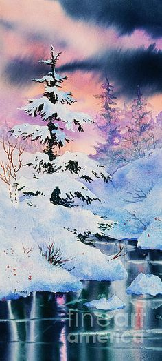 Snowy Spruce by Teresa Ascone - Snowy Spruce Painting - Snowy Spruce Fine Art Prints and Posters for Sale