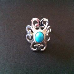 Sarah Coventry Southwestern Silver Metal Turquoise Moon Adjustable Ring #SarahCoventry #Southwestern