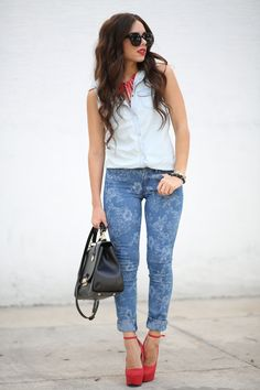Jeans, White, Red, Black Outfit