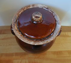 Hull Bean Pot Drip Ceramic Crock Heavy Crock Brown Crock Brown Ceramic Crock Bean Pot Vintage Brown Kitchen Crock with lid Made in USA