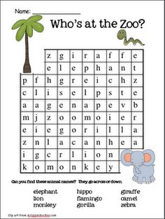 1000+ images about Zoo unit on Pinterest | Word search, Zoos and Zoo ...