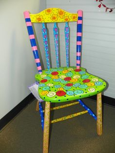 bright funky eclectic hand painted by danielleandgailachin on Etsy Whimsical Painted Furniture, Hand Painted Chairs, Painted Stools, Hand Painted Furniture, Funky Furniture, Colorful Furniture, Furniture Makeover, Rustic Furniture, Etsy Furniture