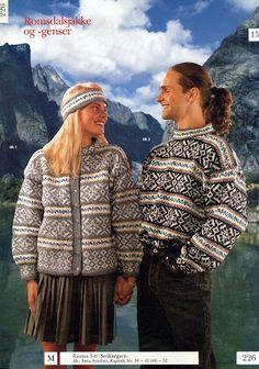 Romsdalsjakke 226 Diy Crafts Knitting, Norwegian Knitting, Nordic Sweater, Knitting Charts, Vintage Knitting, Norway, Scandinavian, Winter Jackets, Couples