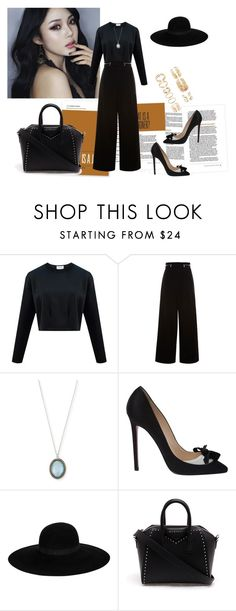 """""""i'm feeling black right now"""" by ratsame on Polyvore featuring Proenza Schouler, Armenta, Christian Louboutin, Maison Michel, Givenchy and Forever 21"""