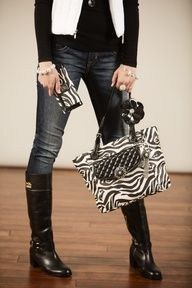 Style me w/ Grace Adele:  Daring black-and-white zebra adds a dash of instant glamour to your look. It's bold. It's elegant. And YOU can pull it off!  https://mypurseaddiction.graceadele.us/GraceAdele/Buy?