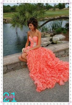 organza high low prom dress, prom dress coral