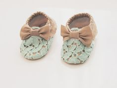 Baby Moccasin Mint Lace & Vegan Leather by Blueberriesforcall