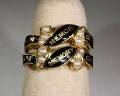 Rare matched pair of antique Victorian 18k gold, enamel and pearl mourning rings - London 1853