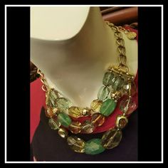 """JUST IN??Celery Green Necklace Faceted Chunky Beautiful !  Multi Strand Celery Green Necklace Faceted Chunky Beads  Celery green with a mix of tonal large beads!   Nice thick gold chain  Rhinestone and gold details!!  Designer Dana Buchman  NWT Length 16"""" with 3"""" extension Dana Buchman Jewelry Necklaces"""