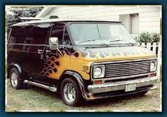 our third vehicle was a '75 chevy van conversion....ours had Indian bronze paint with porthole windows and pirate ship mural on sides and pirates burying treasure chest mural on back doors...captain chairs, paneling and orange shag carpet and bed inside.