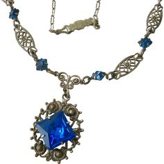 Vintage Lavaliere Necklace Blue Paste Stones Silver Tone Filigree - found at www.rubylane.com @rubylanecom