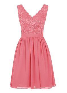 Angel Formal Dresses Women's V Neck Lace Dress Bridesmaids Dress Short Prom Dress(16,Coral)