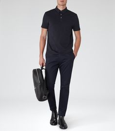 Mens Navy Pocket Polo Shirt - Reiss Watkins