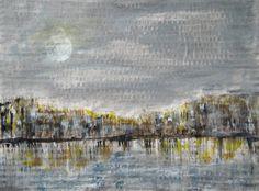 "Moon City Abstract Cityscape Painting Urban Night Landscape City Lights Grey Brown Yellow Postcard Size Moonlight 4.7x6.3"" PuzzledbyArtmondo by PuzzledbyArtmondo on Etsy"