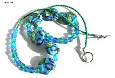Blue Flower Necklace on Teal Coin Beads with Faceted Aqua Crystals  | bluemorningexpressions - Jewelry on ArtFire