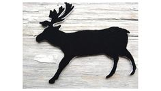 Moose Black Silhouette Deer Jewelry Antlers Woodland Brooch