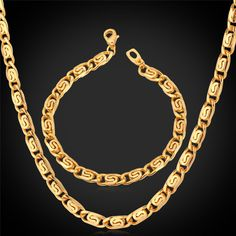 dhgate daily deals -New Men Jewelry Chunky Link Chain Necklace Bracelet Set 18K Real Gold Plated Fashion Accessories Gift For Men