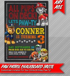 Paw Patrol Invitation  Chalkboard style  Paw by ePartyPrintables