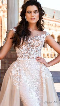 crystal design 2017 bridal cap sleeves jewel neckline heavily embroidered bodice princess elegant ivory color detachable skirt sheath wedding dress a line overskirt low back long train (odri) zv