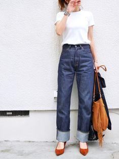 UNIQLO U のTシャツ デニム…levi's701 バッグ…laugoa パンプス…men