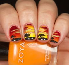 #nailart lion king, africa, landscape, red yellow orange black