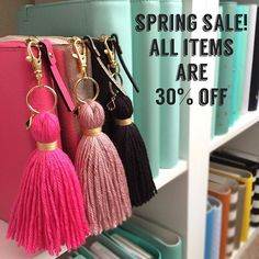 Spring Savings is still on!  Entire shop is 30% off!  Stock up tassels, keychains, pom poms, bookmarks, dashboards, and more.  Use coupon code: SPRINGSAVINGS to take 30% off your entire order.  Not valid on previous purchases.  Open orders can be combined to save on shipping cost!  Shop link is in my bio  P.S. Don't forget to change your clo...