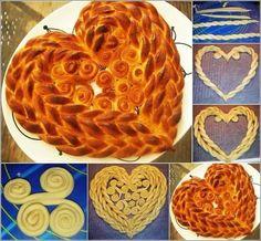 Bake a beautiful heart-shaped braided bread 💛 Bread Recipes, Cooking Recipes, Bread Shaping, Bread Art, Braided Bread, Challah, Bread Rolls, Cute Food, Diy Food