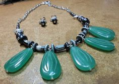 African Bone and Carved Aventurine Necklace Set