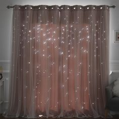 Efird Tulle Overlay Star Cut Out Blackout Thermal Grommet Curtain Panel – Curtains Cute Room Decor, Teen Room Decor, Bedroom Decor Lights, Cheap Room Decor, Room Decor With Lights, Lighting Ideas Bedroom, Bedroom Fairy Lights, Twinkle Lights Bedroom, Small Room Design