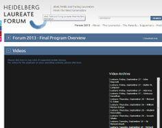 Heidelberg Laureate Forum   http://www.heidelberg-laureate-forum.org/event_2013/
