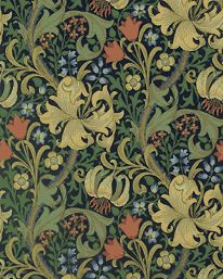Golden Lily, in Indigo, a wallpaper designed by JH Dearle for Morris & Co, 1899